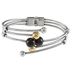 La Preciosa Stainless Steel Onyx Bead Triple Row Bracelet