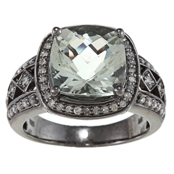 Silver Green Amethyst/ Smokey Quartz and 1/4ct TDW Diamond Band (J-K, I2-I3)