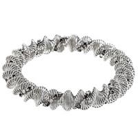 La Preciosa Steel Black and White Crystal Coil Stretch Bracelet