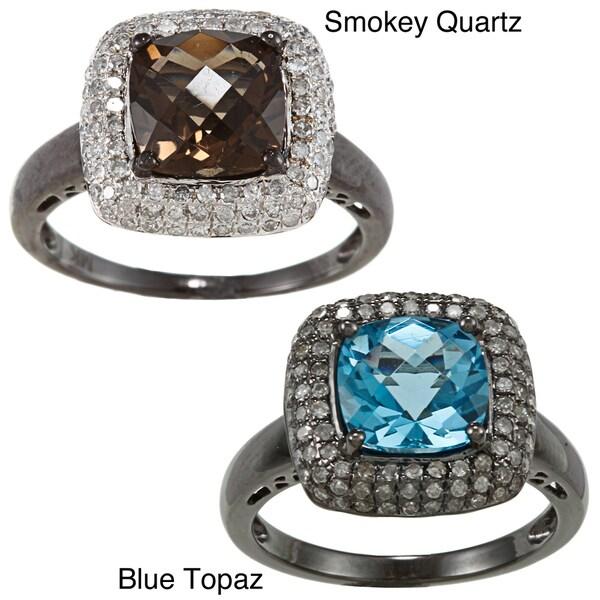 Silver Smokey Quartz/ Blue Topaz and 3/8ct TDW Diamond Ring (J-K, I2-I3)