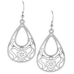 La Preciosa Stainless Steel Designed Teardrop Earrings