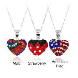 Icz Stonez Sterling Silver Multicolor Crystal Fireball Heart Necklace
