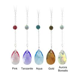 Icz Stonez Sterling Silver Teardrop Crystal And Fireball Drop Necklace
