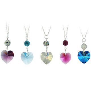 Icz Stonez Sterling Silver Heart Crystal And Fireball Drop Necklace