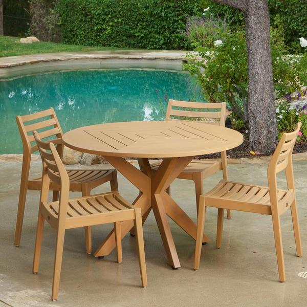 Lombardi Armless Eucalyptus Wood 5-piece Outdoor Dining Set by Christopher Knight Home