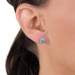 Journee Collection Sterling Silver Genuine Turquoise Sun Stud Earrings