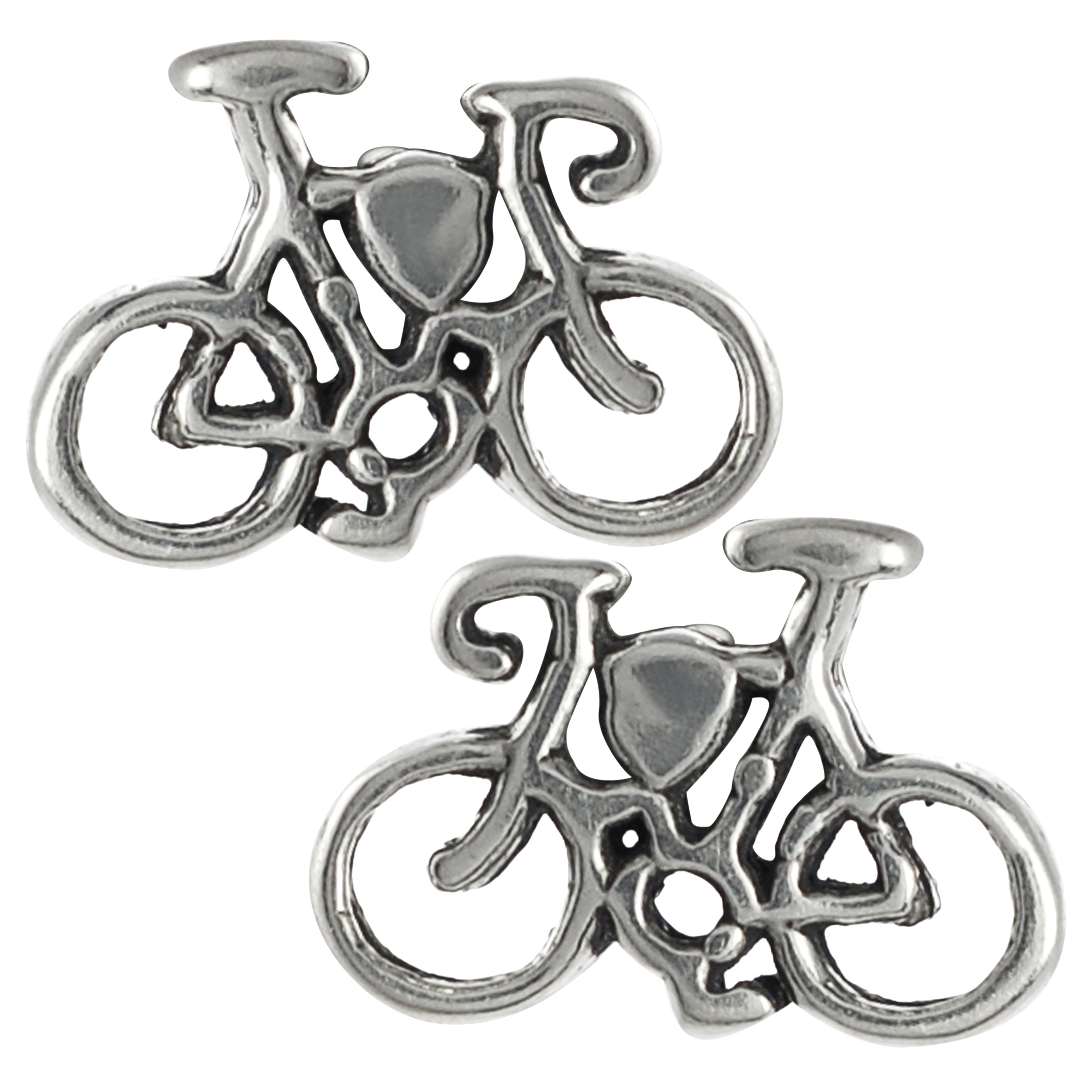 Journee Collection Sterling Silver Bicycle Stud Earrings