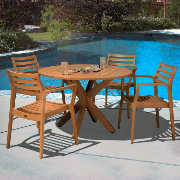 Lombardi Eucalyptus Wood 5-piece Outdoor Dining Set by Christopher Knight Home