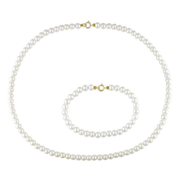 Miadora Children's Cultured Freshwater Pearl Necklace and Bracelet Set (4-4.5mm)