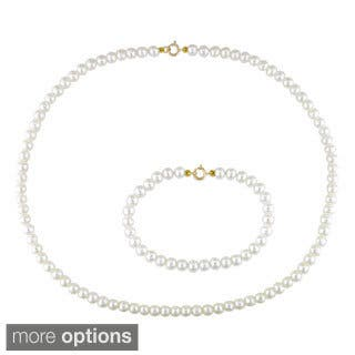 Miadora Children's Cultured Freshwater Pearl Necklace and Bracelet Set (4-4.5mm)|https://ak1.ostkcdn.com/images/products/6852036/P14377598.jpg?impolicy=medium