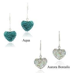 Icz Stonez Sterling Silver Crystal Fireball Heart Earrings