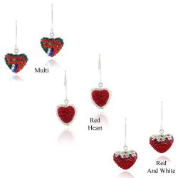 Icz Stonez Sterling Silver Multi-color Crystal Fireball Heart Earrings