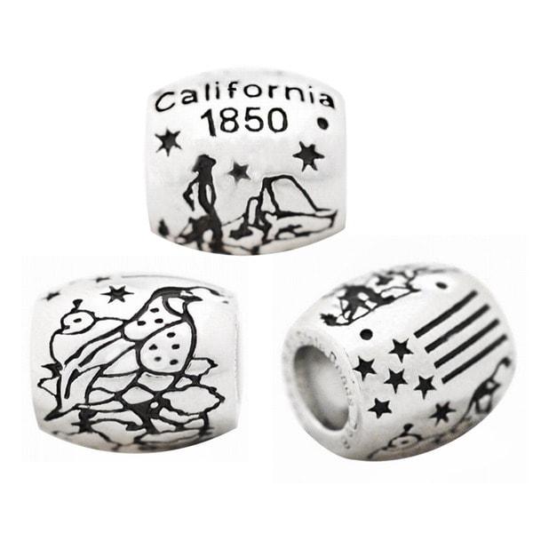 De Buman High-polish Sterling Silver US 50 States Charm Bead