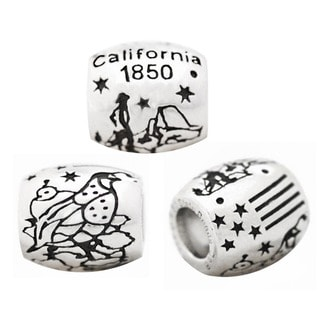 De Buman High-polish Sterling Silver US 50 States Charm Bead