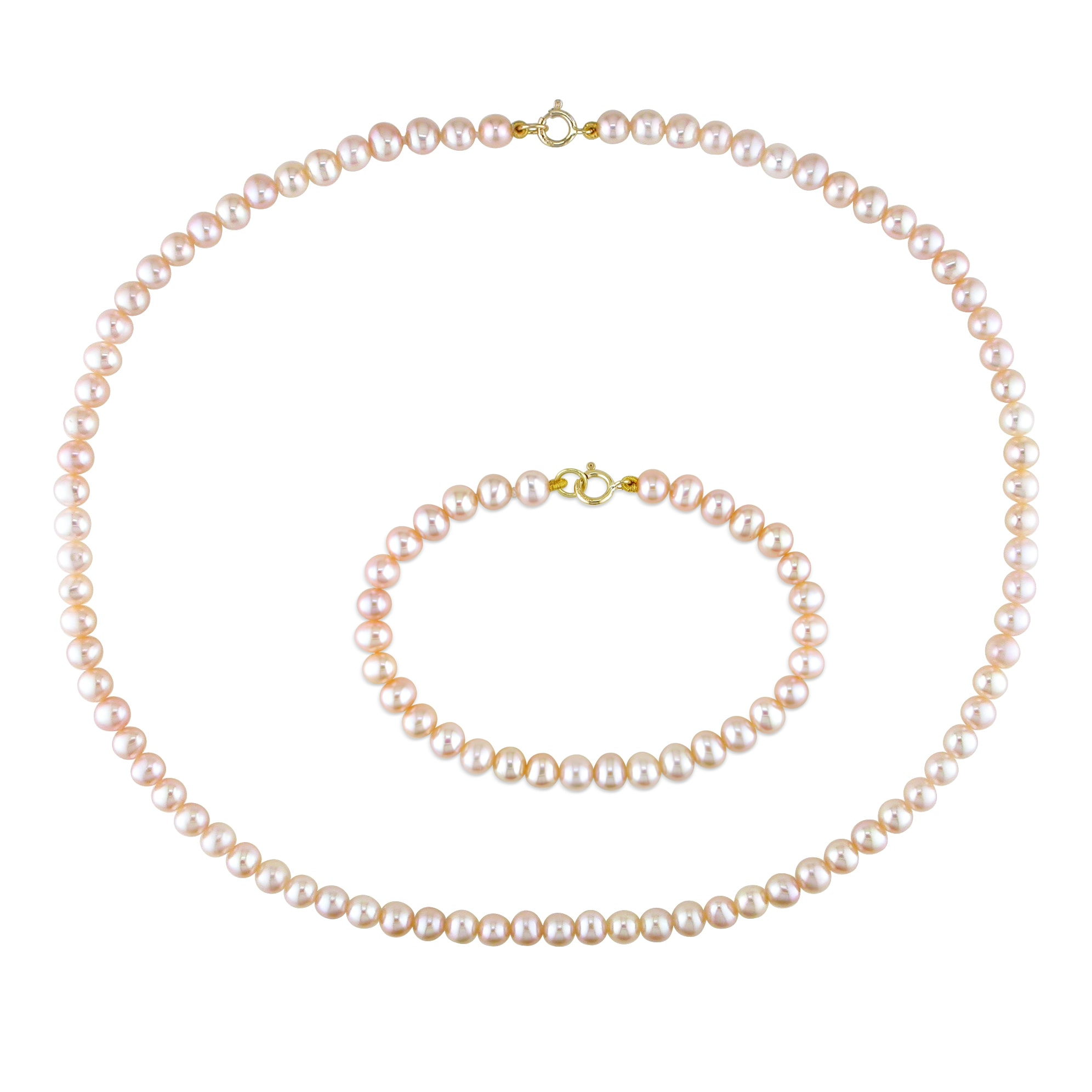 Miadora Children's Pink Pearl Necklace and Bracelet Set (4-4.5 mm) - Thumbnail 0