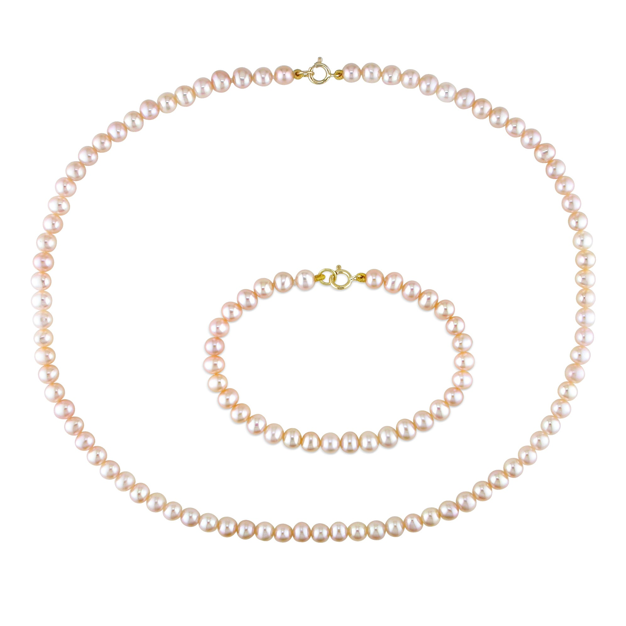 Miadora Children's Pink Pearl Necklace and Bracelet Set (4-4.5 mm)