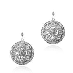 DB Designs Sterling Silver Diamond Accent Flower Disc Earrings