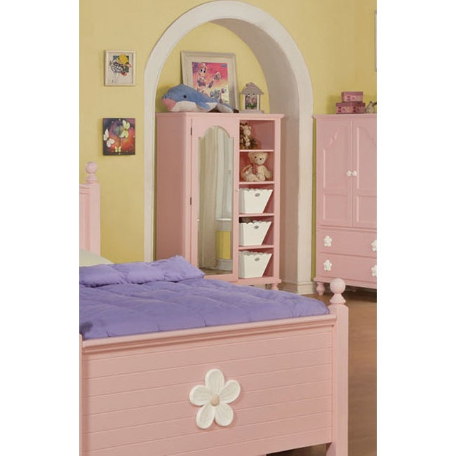 Floresville Pink Finish Chest with Mirror and Baskets