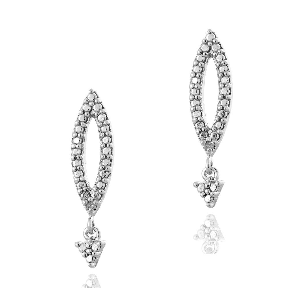 DB Designs Sterling Silver Diamond Accent Dangle Marquis Earrings