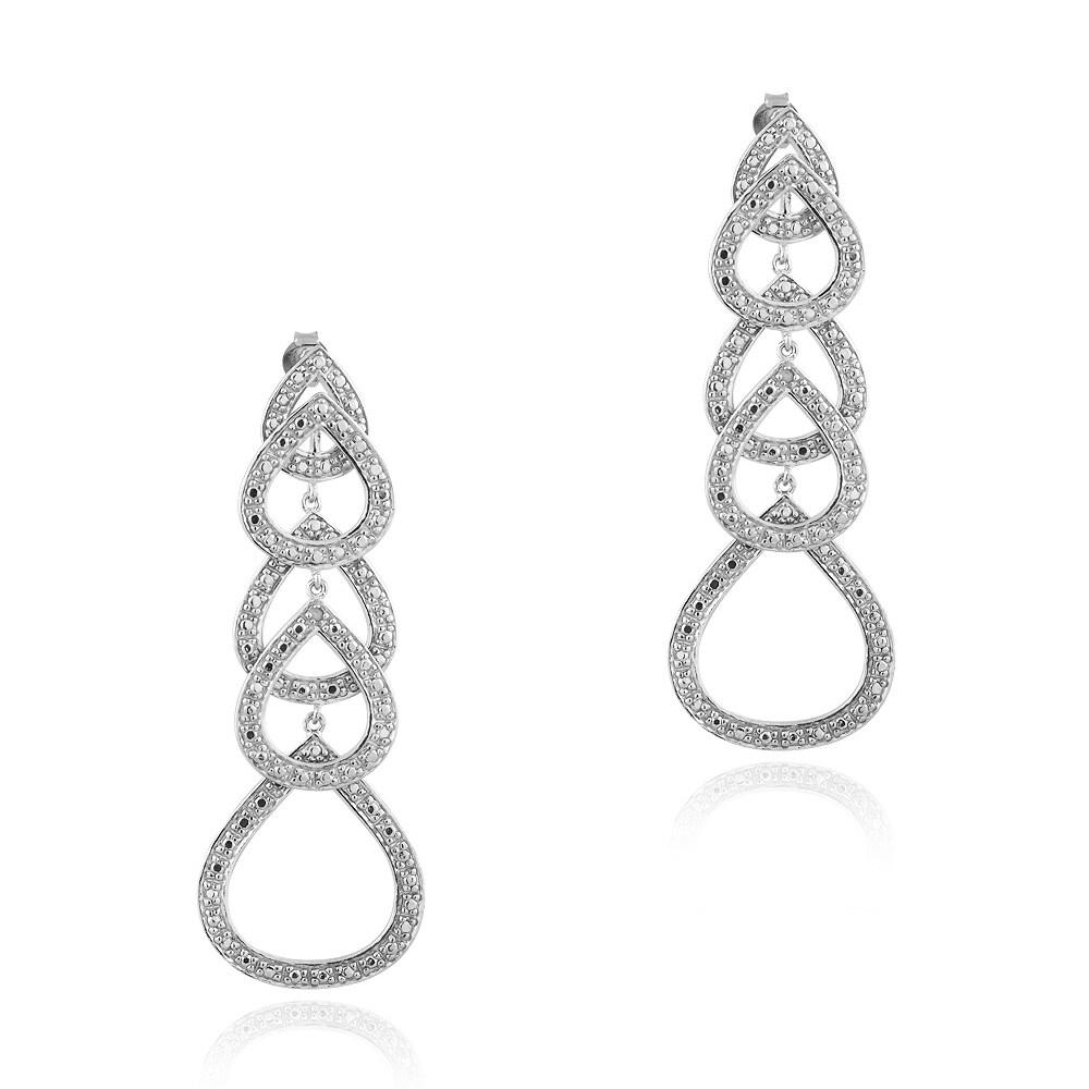 DB Designs Silvertone Diamond Accent Open Teardrop Dangle Earrings