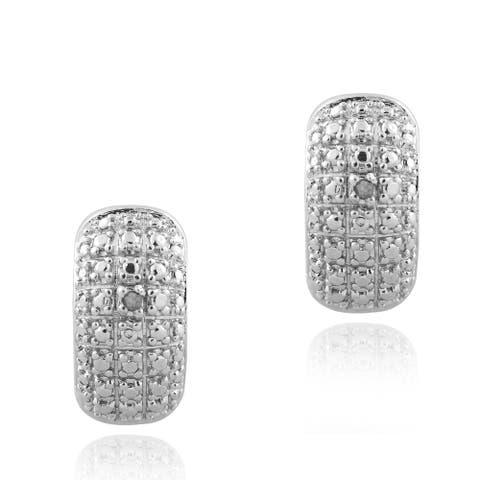 DB Designs Rhodium-plated Diamond Accent Hoop Earrings