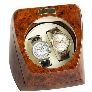 Circa Burl Wood Look Finish 4-Setting Double Watch Winder with Off White Leather