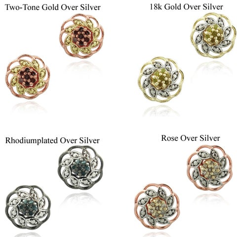 DB Designs Two-tone Diamond Accent Flower Earrings