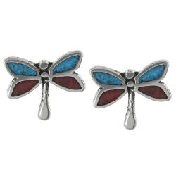 Journee Collection Sterling Silver Genuine Turquoise Coral Dragonfly Stud Earrings