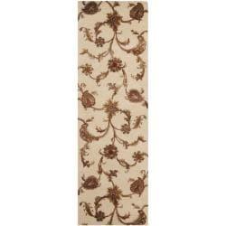 Safavieh Handmade Paisley Ivory New Zealand Wool Rug (2'6 x 8')