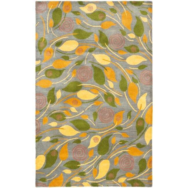 Safavieh Handmade Foliage Grey New Zealand Wool Rug (3'6 x 5'6')