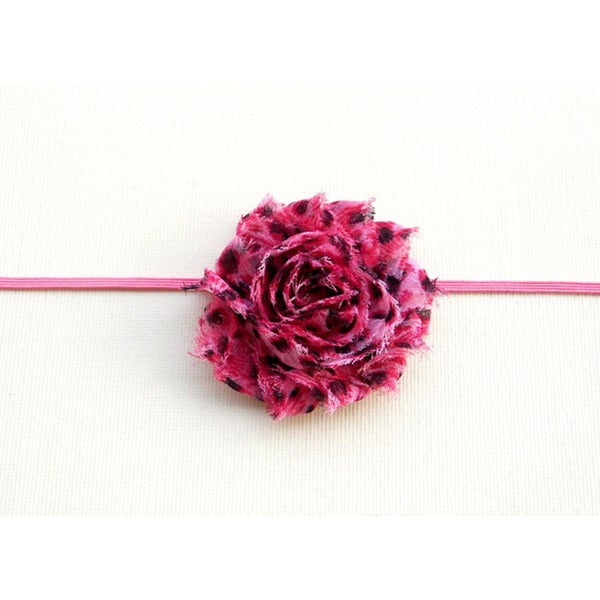 Boutique Pink Cheetah Shabby Flower Headband