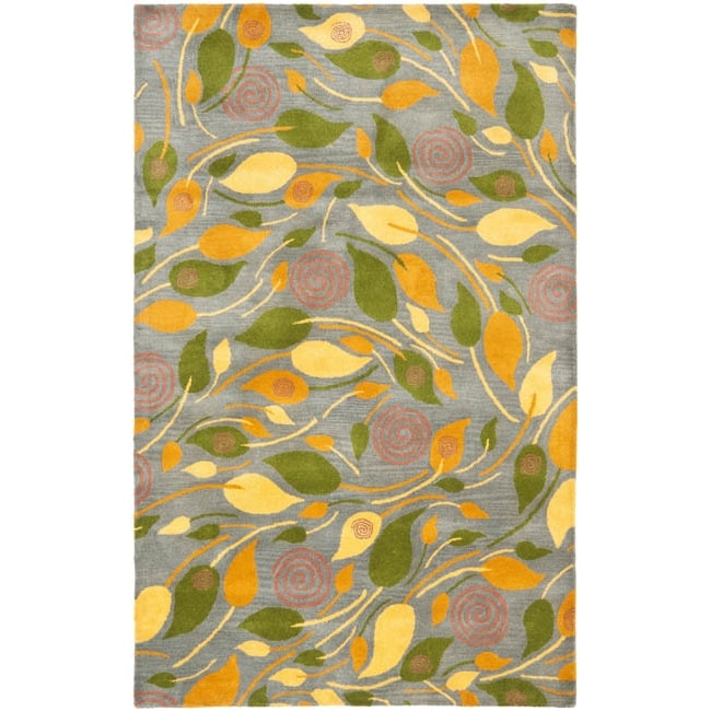 Safavieh Handmade Foliage Grey New Zealand Wool Rug - 7'6 x 9'6