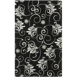 Safavieh Handmade Leaf Scrolls Black New Zealand Wool Rug (3'6 x 5'6')