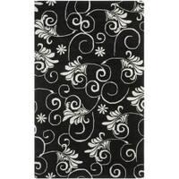 Safavieh Handmade Leaf Scrolls Black New Zealand Wool Rug - 5' x 8'