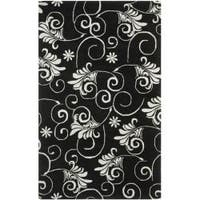 Safavieh Handmade Leaf Scrolls Black New Zealand Wool Rug - 7'6 x 9'6