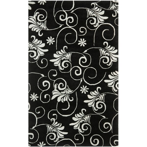 "Safavieh Handmade Leaf Scrolls Black New Zealand Wool Rug - 7'6"" x 9'6"""