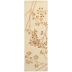 Safavieh Handmade Vine Ivory/ Orange New Zealand Wool Rug (2'6 x 10')