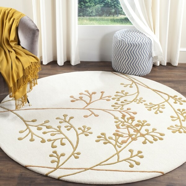 Safavieh Handmade Vine Ivory/ Orange New Zealand Wool Round Rug (6' x 6')