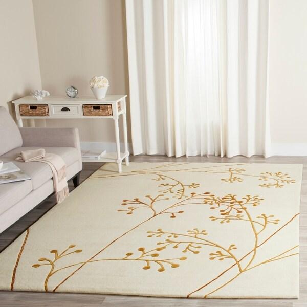 Safavieh Handmade Vine Ivory/ Orange New Zealand Wool Rug - 3'6' x 5'6'