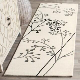 """Safavieh Handmade Vine Ivory/Gray New Zealand Wool Runner Rug (2'6"""" x 12')"""