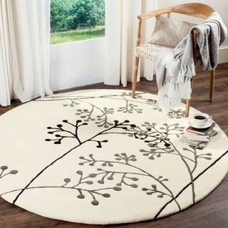 Safavieh Handmade Vine Ivory/ Grey New Zealand Wool Rug (6' x 6' Round)