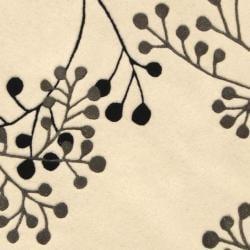 Safavieh Handmade Vine Ivory/ Grey New Zealand Wool Rug (8' Round) - Thumbnail 2