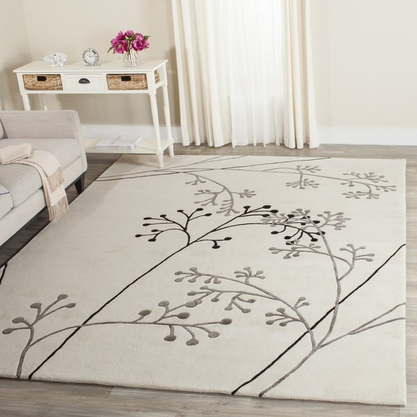 Safavieh Handmade Vine Ivory/ Grey New Zealand Wool Rug (3'6 x 5'6')
