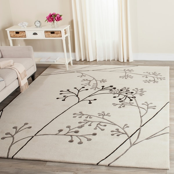 Safavieh Handmade Vine Ivory/ Grey New Zealand Wool Rug - 7'6 x 9'6