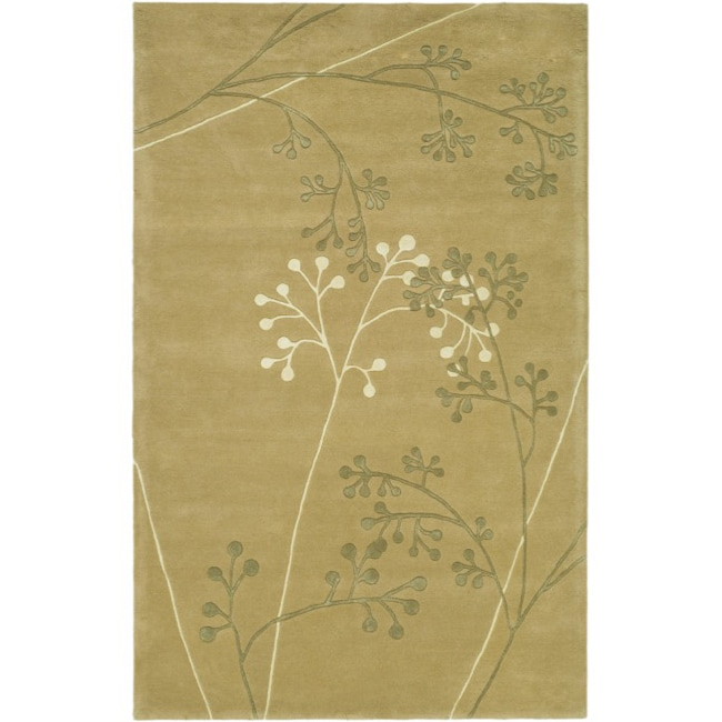Safavieh Handmade Vine Sage New Zealand Wool Rug (3'6 x 5'6') - Thumbnail 0