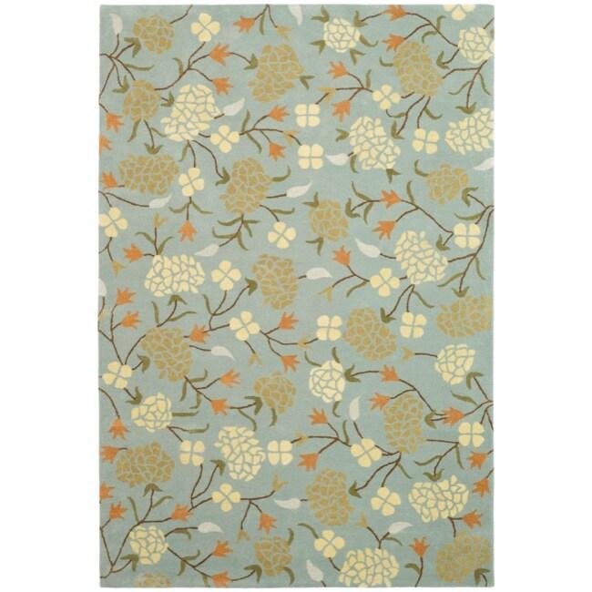 Safavieh Handmade Gardens Blue New Zealand Wool Rug (7'6 x 9'6)