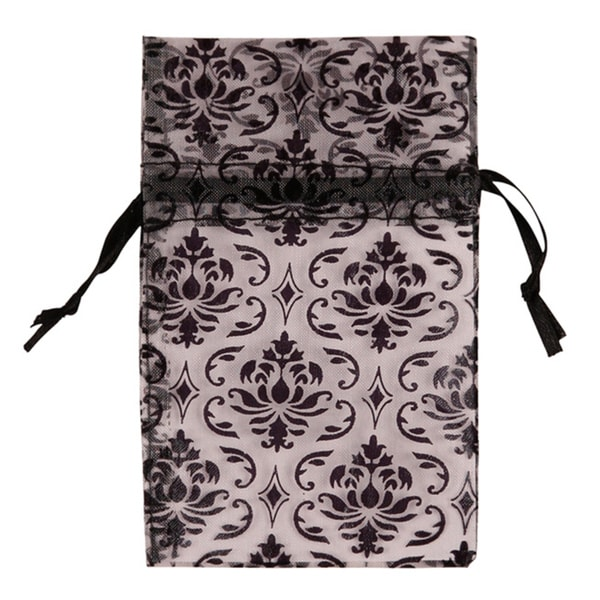 48 piece Organza Black Damask Design on Light Purple Drawstring Pouches Gift Bags 4 x 5 inch