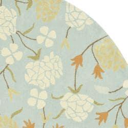 Safavieh Handmade Gardens Blue New Zealand Wool Rug (6' x 6' Round) - Thumbnail 1
