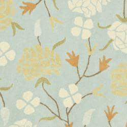 Safavieh Handmade Gardens Blue New Zealand Wool Rug (6' x 6' Round) - Thumbnail 2
