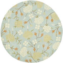 Safavieh Handmade Gardens Blue New Zealand Wool Rug (6' x 6' Round)
